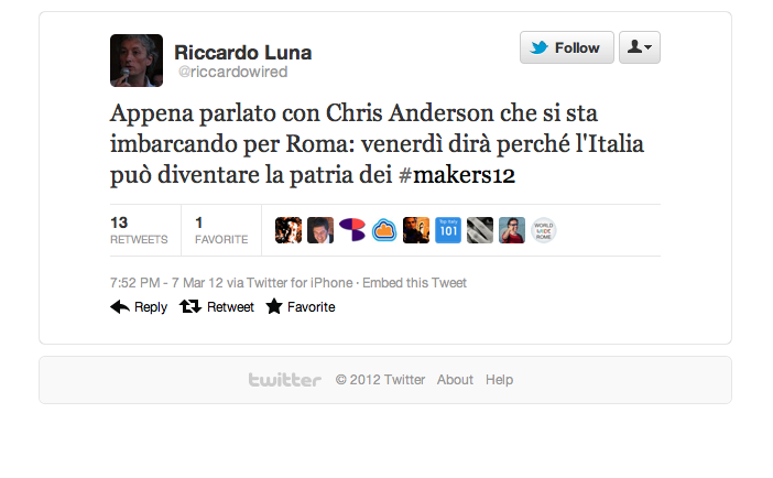 Tweet di Riccardo Luna