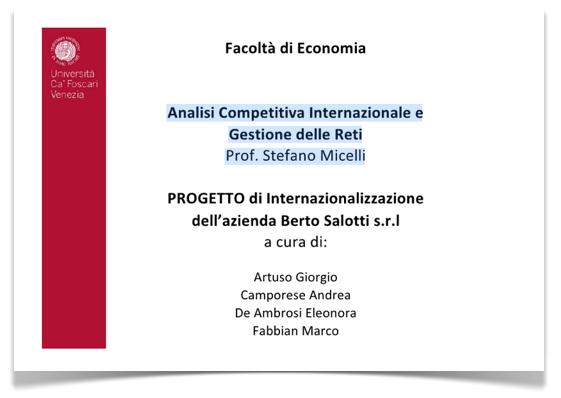 Berto Salotti Università Cà Foscari