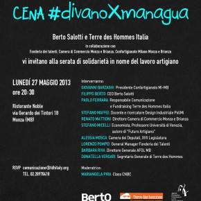 Invito alla cena di solidarietà e lavoro artigiano divanoXmanagua