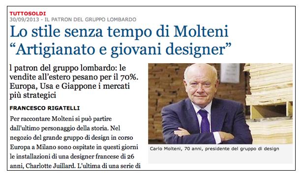 Il futuro dell'arredamento è l'artigianato (Carlo Molteni)