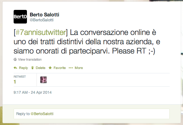 Ultimo Tweet Berto Salotti