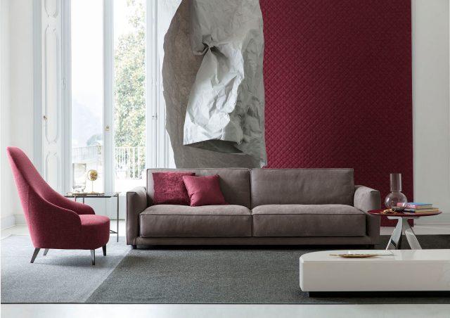 Sofa Ribot de cuero plena flor berto salotti