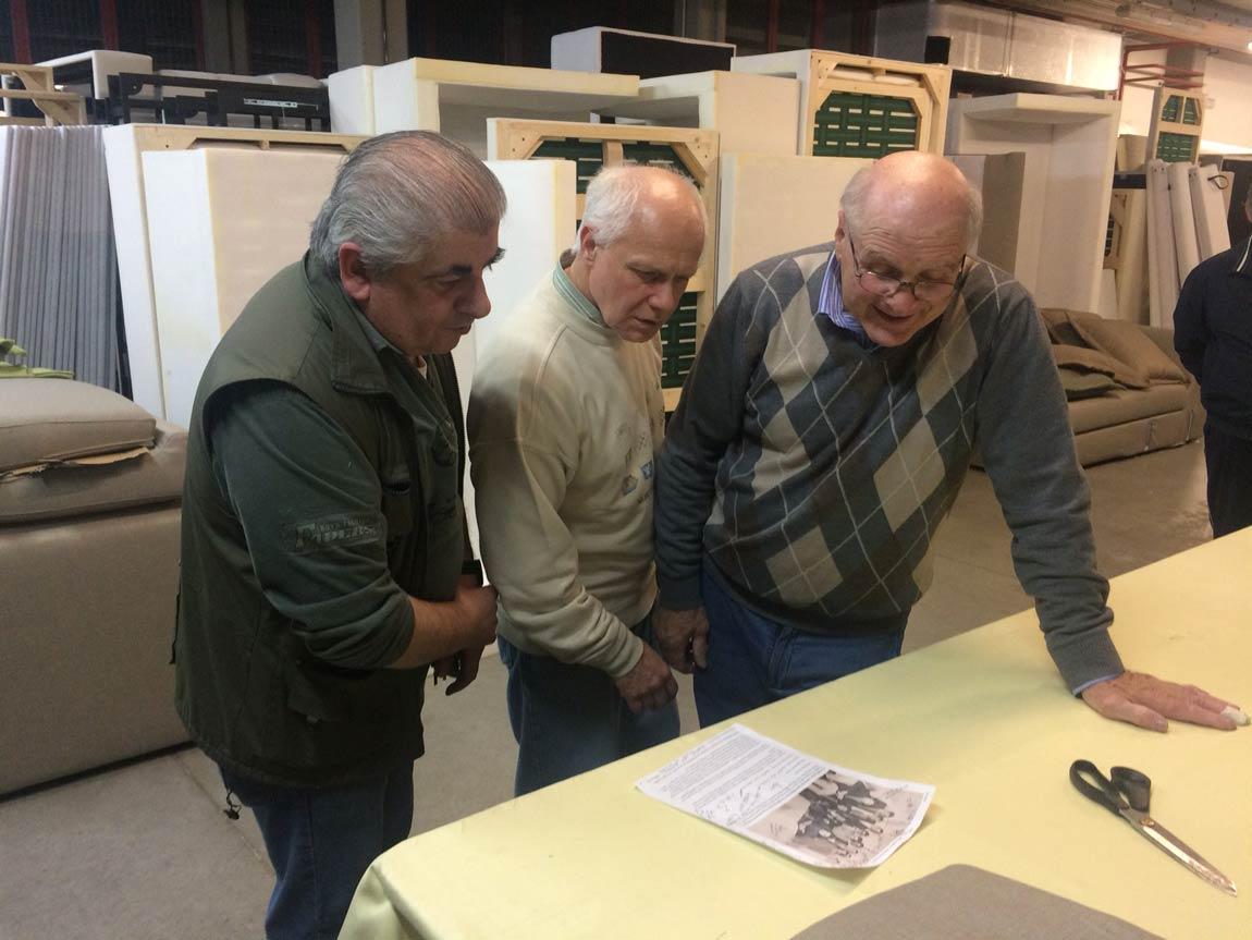 Pier Luigi Pistore, Flavio Cairoli e Giorgio Berto nel laboratorio BertO di Meda