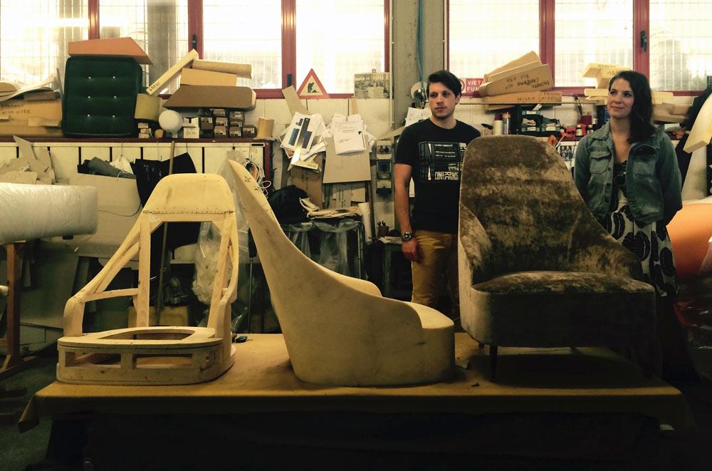 Prototipi poltrona Vanessa con schienale alto