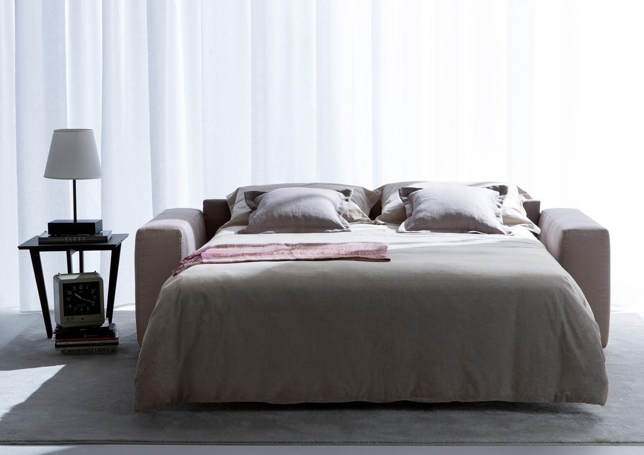 Divano letto con rete a doghe in legno di faggio Passepartout