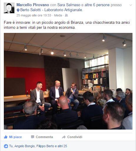 Marcello Pirovano alla presentazione di Fare è innovare di Stefano Micelli