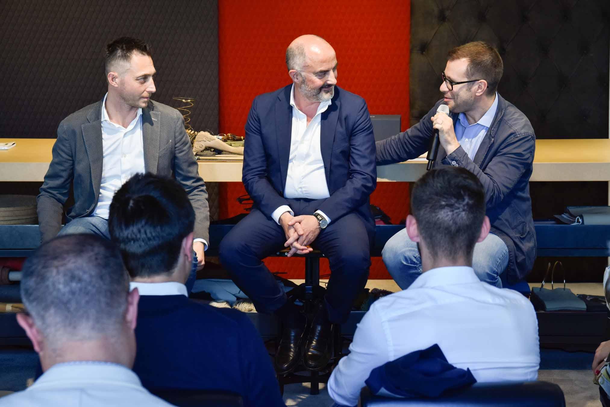 Stefano Micelli, Francesco Cancellato e Filippo Berto alla presentazione di Fare è Innovare a Meda