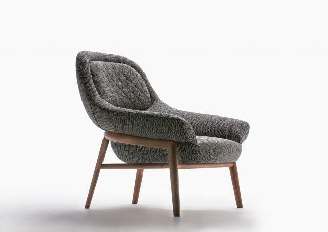 fauteuil Hanna bois massif et tissue