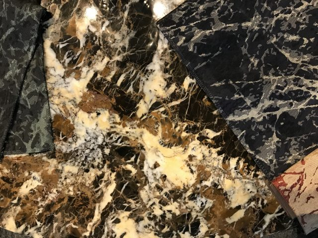 tessuto berto effetto marmo e marmo balck and gold