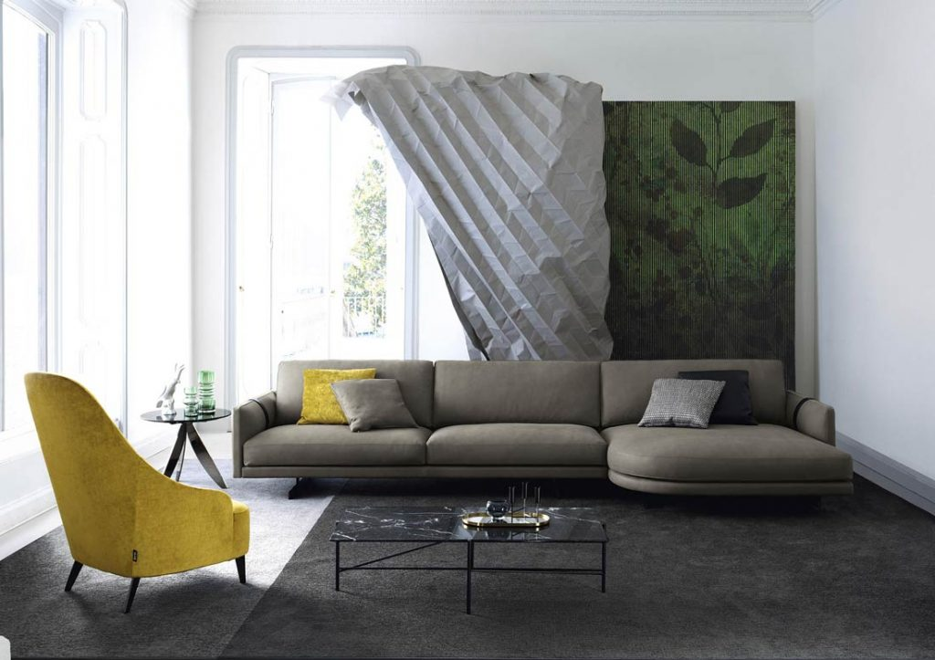 Divano Dee Dee con chaise longue rotonda in pelle design berto the dream design made in meda