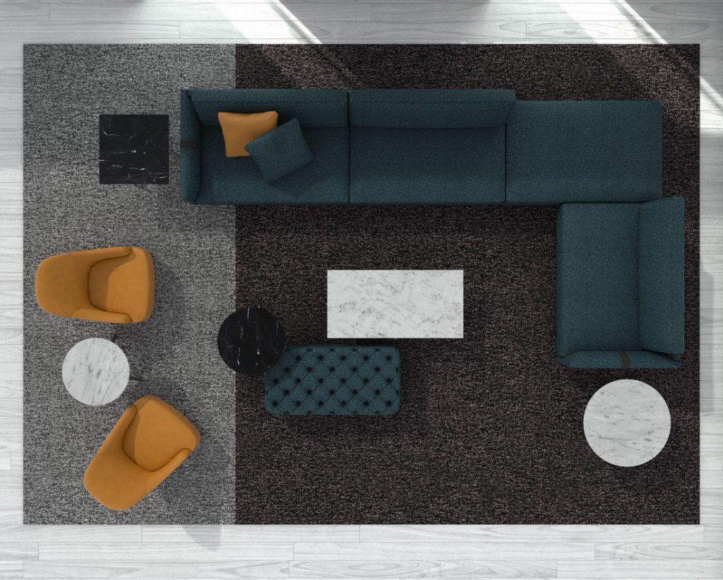 Divano di design Dee Dee di BertO con i complementi della Collezione BertO 2021